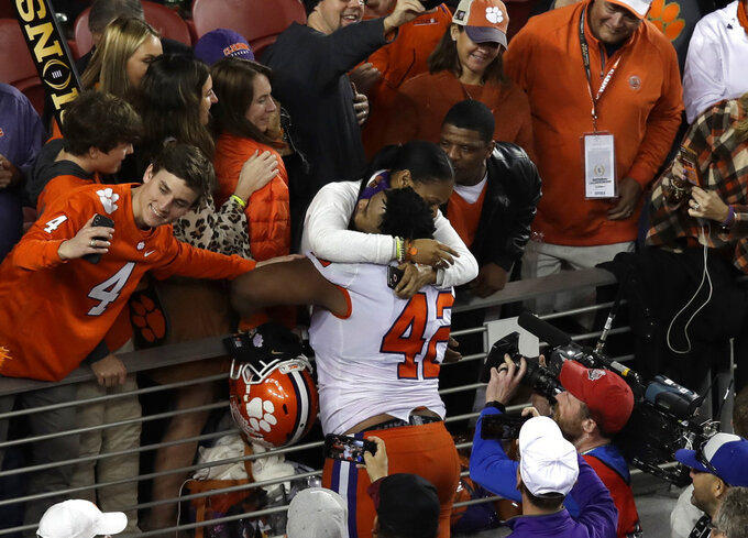 Clemson's Christian Wilkins celebrates after the NCAA college football playoff championship game against Alabama, Monday, Jan. 7, 2019, in Santa Clara, Calif. Clemson beat Alabama 44-16. (AP Photo/Jeff Chiu)