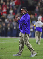 LSU coach Ed Orgeron reacts during the first half of the team's NCAA college football game against Mississippi in Oxford, Miss., Saturday, Nov. 16, 2019. (AP Photo/Thomas Graning)