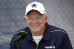 FILE - In this July 26, 2019, file photo, Dallas Cowboys owner Jerry Jones smiles during a press conference at the NFL football team training camp in Oxnard, Calif. There will be plenty of winners and losers, but the big winner is a league that had to be drawn kicking and screaming into the new world of sports betting. The NFL will profit not only from various deals with its new sports betting partners, but should also benefit from increased viewership. Cowboys owner Jerry Jones believes that benefit will be huge. (AP Photo/Marcio Jose Sanchez, File)