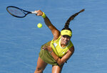 United States' Jessica Pegula serves to Ukraine's Elina Svitolina during their fourth round match at the Australian Open tennis championship in Melbourne, Australia, Monday, Feb. 15,2021.(AP Photo/Andy Brownbill)