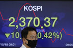 A currency trader walks by a screen showing the Korea Composite Stock Price Index (KOSPI) at the foreign exchange dealing room in Seoul, South Korea, Thursday, Oct. 15, 2020. Asian stocks followed Wall Street lower on Thursday as hopes U.S. leaders will agree on a new economic stimulus before the Nov. 3 presidential election faded. (AP Photo/Lee Jin-man)