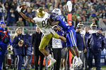 Notre Dame wide receiver Chase Claypool (83) catches a pass while Duke cornerback Leonard Johnson (33) defends during the first half of an NCAA college football game in Durham, N.C., Saturday, Nov. 9, 2019. (AP Photo/Gerry Broome)