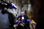 French lawyer Thibault de Montbrial, who is representing US soldiers who foiled a terror attack on an Amsterdam-Paris train in 2015, speaks to media on the opening day of the Thalys attack trial, at the Paris courthouse, Monday, Nov. 16, 2020. Islamic State operative Ayoub El Khazzani goes on trial Monday Nov. 16, 2020, in France on terror charges for appearing on a train with an arsenal of weapons and shooting one passenger in 2015. (AP Photo/Thibault Camus)