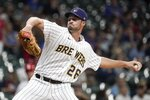 Milwaukee Brewers relief pitcher Aaron Ashby throws during the third inning of a baseball game against the St. Louis Cardinals Friday, Sept. 3, 2021, in Milwaukee. (AP Photo/Morry Gash)