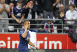 PSG's Kylian Mbappe celebrates after scoring his goal during the France League One soccer match between Reims and Paris Saint-Germain, at the Stade Auguste-Delaune in Reims, France, Sunday, Aug. 29, 2021. (AP Photo/Francois Mori)