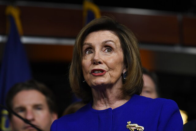 House Speaker Nancy Pelosi of Calif., speaks at a news conference on Capitol Hill in Washington, Tuesday, Dec. 10, 2019, on Capitol Hill in Washington. (AP Photo/Susan Walsh)