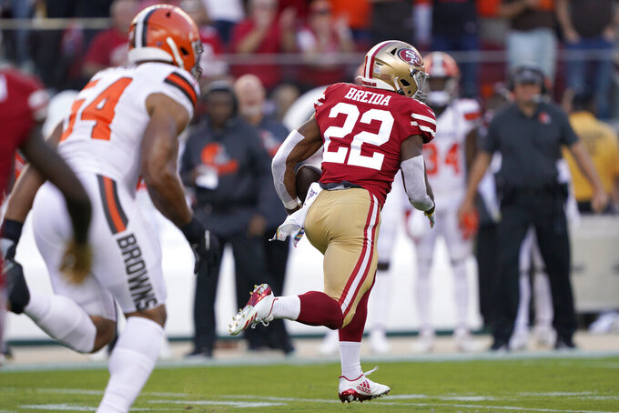 San Francisco 49ers running back Matt Breida (22) runs for a touchdown against the Cleveland Browns during the first half of an NFL football game in Santa Clara, Calif., Monday, Oct. 7, 2019. (AP Photo/Tony Avelar)