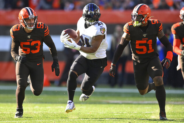 FILE - In this Sunday, Dec. 22, 2019, file photo, Baltimore Ravens running back Mark Ingram (21) rushes after a catch under pressure from Cleveland Browns middle linebacker Joe Schobert (53) and linebacker Mack Wilson (51) during the first half of an NFL football game, in Cleveland. Ingram intends to cap a decade of bullish carries up the middle by helping the Baltimore Ravens break their own single-season record of 3,296 yards rushing. (AP Photo/David Richard, File)