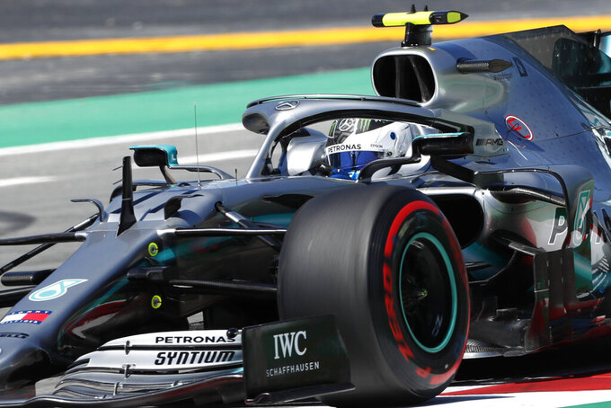 Mercedes driver Valtteri Bottas of Finland steers his car during a free practice at the Barcelona Catalunya racetrack in Montmelo, just outside Barcelona, Spain, Friday, May 10, 2019. The Formula One race will take place on Sunday. (AP Photo/Joan Monfort)