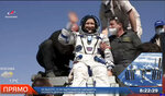 In this image made from video released by Roscosmos Space Agency, rescue team members help Russian cosmonaut Sergey Kud-Sverchkov to get from the capsule shortly after the landing of the Russian Soyuz MS-17 space capsule southeast of the Kazakh town of Zhezkazgan, Kazakhstan, Saturday, April 17, 2021. (Roscosmos Space Agency via AP)