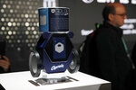 The Charmin RollBot is on display during a Procter & Gamble news conference before CES International, Sunday, Jan. 5, 2020, in Las Vegas. (AP Photo/John Locher)