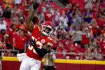 Kansas City Chiefs linebacker Anthony Hitchens celebrates after sacking Minnesota Vikings quarterback Kirk Cousins during the first half of an NFL football game Friday, Aug. 27, 2021, in Kansas City, Mo. (AP Photo/Ed Zurga)