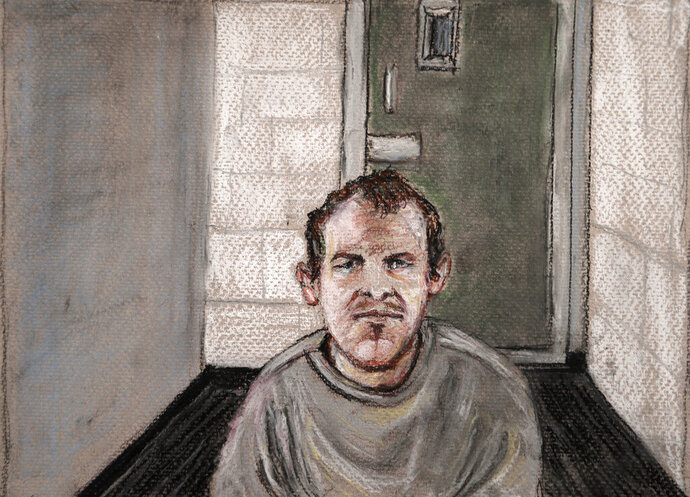 FILE - In this June 14, 2019, file courtroom drawing, Brenton Tarrant, the man accused of killing 51 people at two Christchurch mosques on March 15, 2019 appears via video link at the Christchurch District Court, from the maximum security prison in Auckland where he's being held, Christchurch, New Zealand. New Zealand officials admitted Wednesday, Aug. 14, 2019 that they made a mistake by allowing Tarrant to send a hand-written letter from his prison cell. (AP Photo/Stephanie McEwin, File)