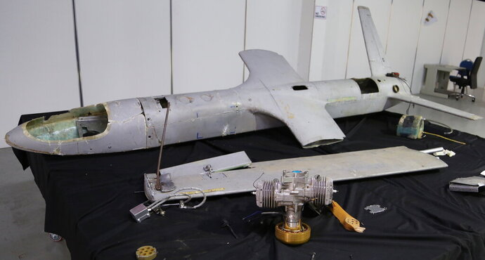 In this undated photograph obtained by The Associated Press, a UAV-X drone flown by Yemen's Houthi rebels is seen in Hodeida, Yemen. A Yemen rebel drone strike this week, likely by UAV-Xs, on a critical Saudi oil pipeline shows that the otherwise-peaceful sandy reaches of the Arabian Peninsula now are at risk of similar assault, including an under-construction nuclear power plant and Dubai International Airport, among the world's busiest. (AP Photo)