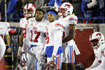 SMU players watch from the sideline in the final minutes of the team's NCAA college football game against Memphis on Saturday, Nov. 2, 2019, in Memphis, Tenn. Memphis won 54-48. (AP Photo/Mark Humphrey)
