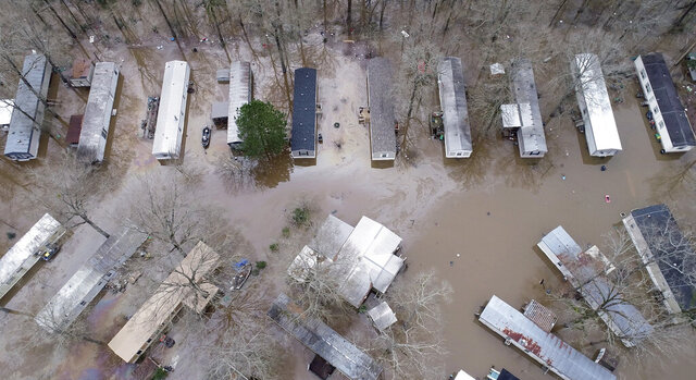 A northeast Jackson, Miss. neighborhood and Harbor Pines in Ridgeland are still under a mandatory evacuation as flooding continues Monday, Feb. 17, 2020. (Barbara Gauntt/The Clarion-Ledger via AP)