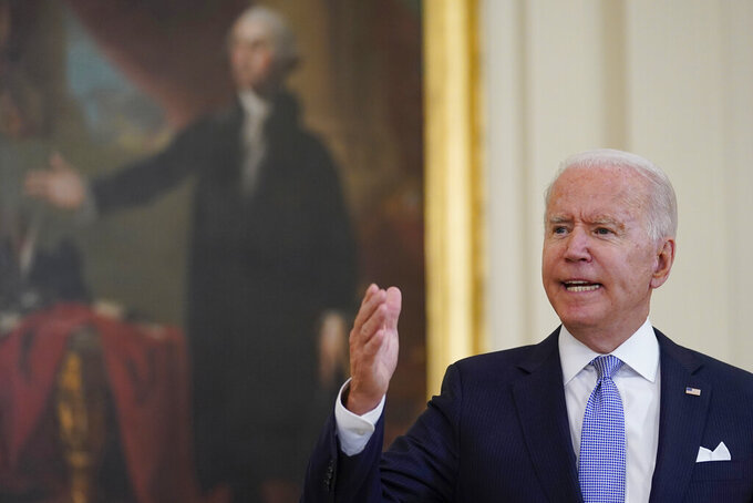 President Joe Biden answers a question from a reporter after he spoke about COVID-19 vaccine requirements for federal workers in the East Room of the White House in Washington, Thursday, July 29, 2021. (AP Photo/Susan Walsh)