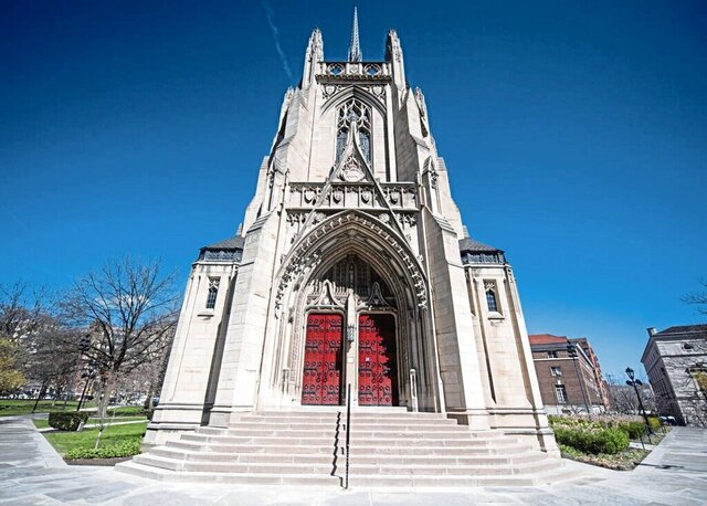 """This March 13, 2020 photo shows Heinz Memorial Chapel on the University of Pittsburgh.  The church will be closed for all events, including weddings, through May 31. After their August engagement,   Gregory Mertz and Janelle Stayt planned a dream wedding.   As the fast-spreading coronavirus raced around the globe, the resulting restrictions and closures turned their plans into """"a nightmare,"""" said Mertz.  (Nate Smallwood/Pittsburgh Tribune-Review via AP)"""