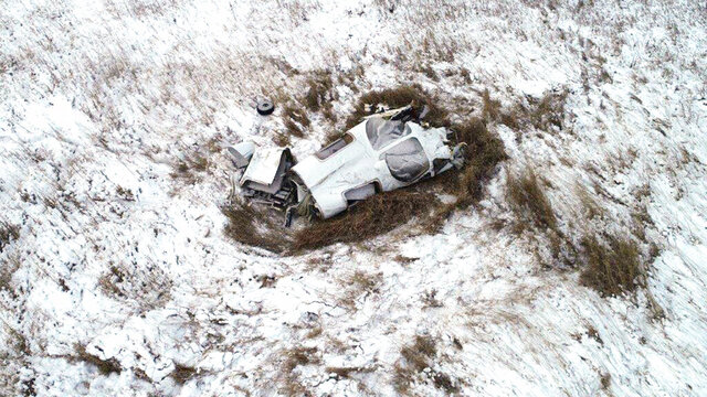 FILE - This Nov. 19, 2018, file photo provided by the Morton County Sheriff's Office shows the wreckage of a twin-engine Bismarck Air Medical airplane that crashed on Nov. 18 about 20 miles northwest of Bismarck, N.D., killing all three on board. Federal investigators say pilot error most likely caused the crash of the medical plane. (Morton County Sheriff's Office via AP File)