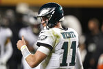 Philadelphia Eagles quarterback Carson Wentz (11) gestures during the second half of an NFL football game against the San Francisco 49ers in Santa Clara, Calif., Sunday, Oct. 4, 2020. (AP Photo/Tony Avelar)