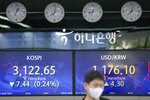 A currency trader walks by the screens showing the Korea Composite Stock Price Index (KOSPI), left, and the foreign exchange rate between U.S. dollar and South Korean won at a foreign exchange dealing room in Seoul, South Korea, Friday, Sept. 17, 2021. Asian shares were mixed on Friday after a hodge-podge of economic data led Wall Street to close mostly lower. (AP Photo/Lee Jin-man)