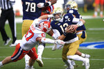 Clemson linebacker James Skalski (47) sacks Notre Dame quarterback Ian Book (12) during the first half of the Atlantic Coast Conference championship NCAA college football game, Saturday, Dec. 19, 2020, in Charlotte, N.C. (AP Photo/Brian Blanco)