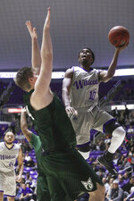 FILE - In this Jan. 20, 2018, file photo, Weber State's Jerrick Harding (10) goes to the basket as Portland State's Ryan Edwards (44) defends during the second half of an NCAA college basketball game, in Ogden, Utah. Harding averaged 21.4 points last season after collecting 22 points per game two years ago. He has earned first-team all-Big Sky honors each of those years. (Matt Herp/Standard-Examiner via AP, File)