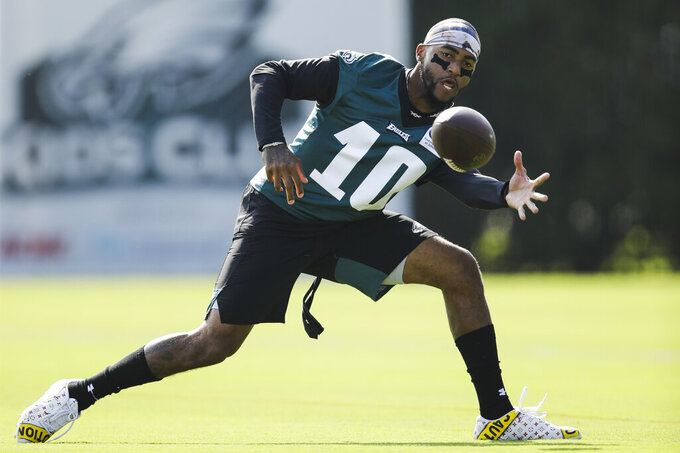 Philadelphia Eagles wide receiver DeSean Jackson catches a pass during practice at the NFL football team's training camp in Philadelphia, Friday, July 26, 2019. (AP Photo/Matt Rourke)