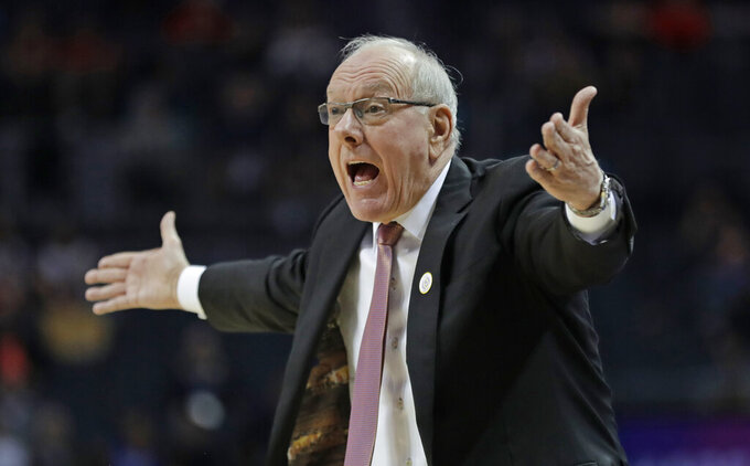 Syracuse head coach Jim Boeheim reacts to a call during the first half of an NCAA college basketball game against Pittsburgh in the Atlantic Coast Conference tournament in Charlotte, N.C., Wednesday, March 13, 2019. (AP Photo/Nell Redmond)