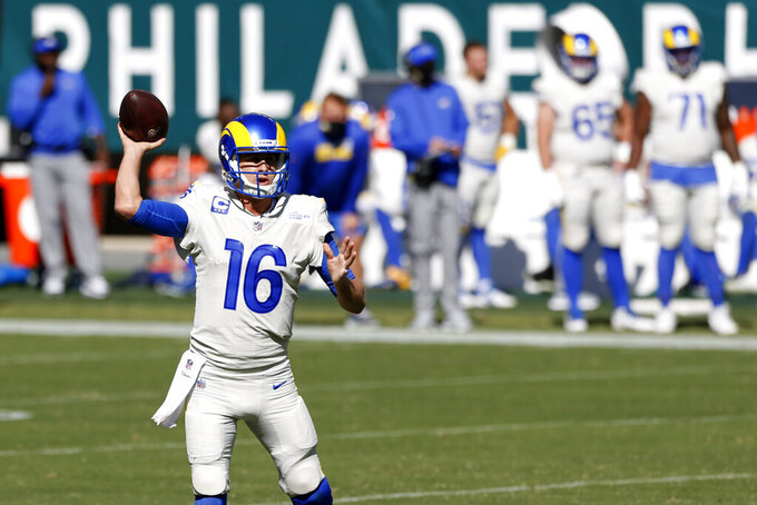 Los Angeles Rams' Jared Goff passes during the second half of an NFL football game against the Philadelphia Eagles, Sunday, Sept. 20, 2020, in Philadelphia. (AP Photo/Laurence Kesterson)