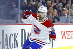 Montreal Canadiens' Tomas Tatar celebrates after scoring a goal during the first period of an NHL hockey game against the Philadelphia Flyers, Thursday, Jan. 16, 2020, in Philadelphia. (AP Photo/Matt Slocum)