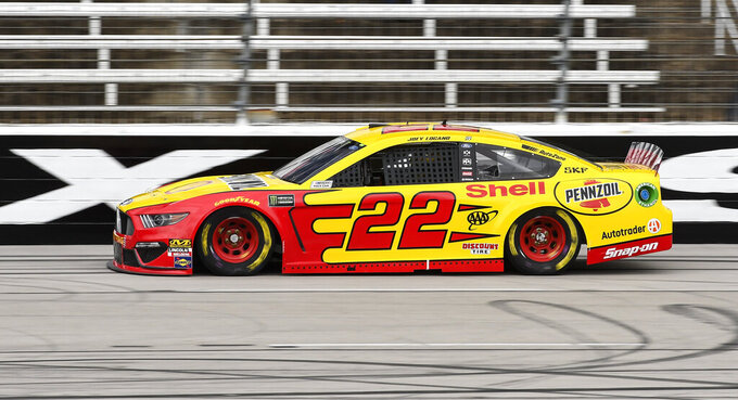 Driver Joey Logano races down the front stretch during practice for a NASCAR Cup auto race at Texas Motor Speedway, Saturday, March 30, 2019, in Fort Worth, Texas. (AP Photo/Larry Papke)