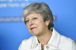 Britain's Prime Minster Theresa May speaks at a EU election campaign event in Bristol, England, Friday May 17, 2019. Talks between Britain's government and opposition aimed at striking a compromise Brexit deal broke down without agreement Friday, plunging the country back into a morass of uncertainty over its departure from the European Union. (Toby Melville/Pool via AP)