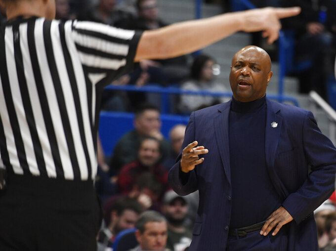 Florida State head coach Leonard Hamilton talks to an official during the second half of a first round men's college basketball game against Vermont in the NCAA tournament, Thursday, March 21, 2019, in Hartford, Conn. (AP Photo/Jessica Hill)