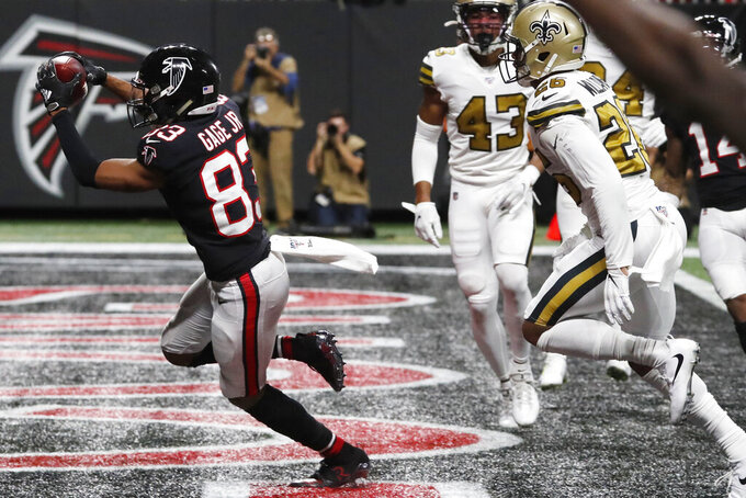 Atlanta Falcons wide receiver Russell Gage (83) runs into the end zone for a touchdown against the New Orleans Saints during the second half of an NFL football game, Thursday, Nov. 28, 2019, in Atlanta. (AP Photo/John Bazemore)