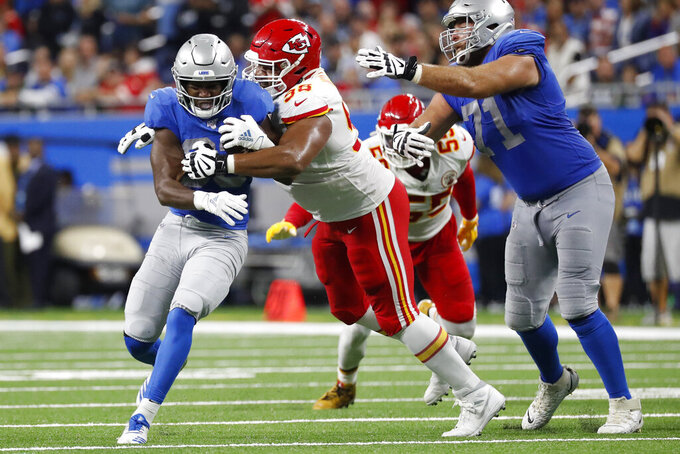 Detroit Lions running back Kerryon Johnson rushes during the first half of an NFL football game against the Kansas City Chiefs, Sunday, Sept. 29, 2019, in Detroit. (AP Photo/Rick Osentoski)