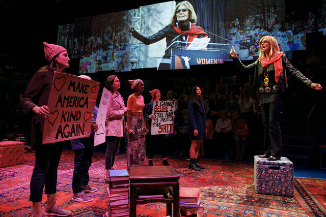 In this image released by PBS, Christine Lahti, portrays Gloria Steinem, right, in a scene from