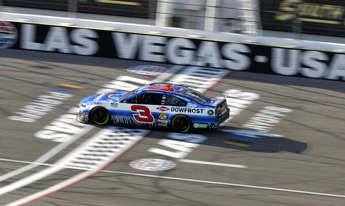 Austin Dillon drives during a NASCAR Cup Series auto race Sunday, Sept. 27, 2020, in Las Vegas. (AP Photo/Isaac Brekken)
