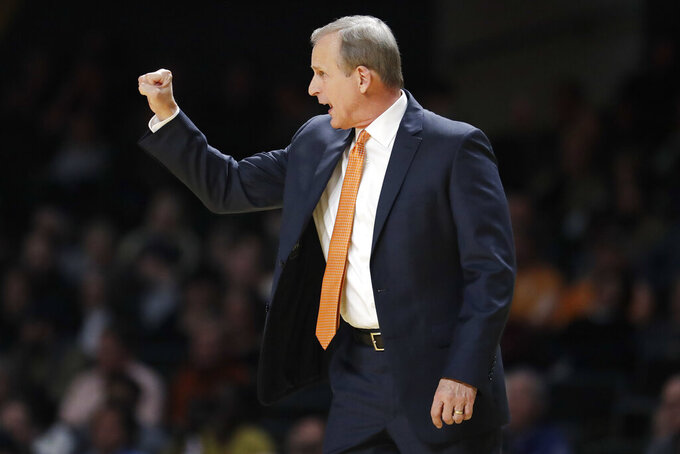 Tennessee coach Rick Barnes directs players during the second half of the team's NCAA college basketball game against Vanderbilt on Saturday, Jan. 18, 2020, in Nashville, Tenn. (AP Photo/Mark Humphrey)