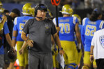 FILE - In this Sept. 14, 2019 file photo, UCLA coach Chip Kelly stands on the sideline during the second half of an NCAA college football game against Oklahoma. in Pasadena, Calif. Kelly is entering his third year in charge but has only seven wins in his first two seasons (AP Photo/Mark J. Terrill, File)
