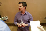 Andrew Friedman, president of baseball operations for the Los Angeles Dodgers, speaks during a media availability during the Major League Baseball general managers annual meetings Tuesday, Nov. 12, 2019, in Scottsdale, Ariz. (AP Photo/Matt York)