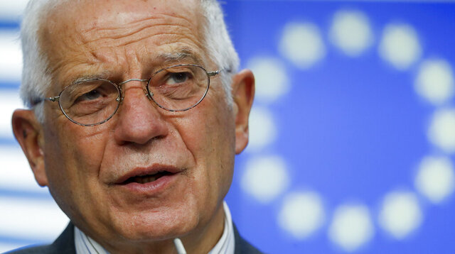 FILE - In this Friday Nov. 20, 2020 file photo, European Union foreign policy chief Josep Borrell speaks during a news conference following an EU Defence minister video conference at the European Council headquarters in Brussels. European Union's foreign policy chief Josep Borrell used Saturday Nov. 21, 2020's 25th anniversary of the peace agreement that ended the Bosnian War to urge Bosnia's political leaders to overcome their persistent ethnic divisions and prepare their nation to join the EU fold. (Olivier Hoslet/Pool Photo via AP, File)