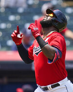 Cleveland Indians' Franmil Reyes celebrates after hitting a solo home run in the second inning of a baseball game against the St. Louis Cardinals, Wednesday, July 28, 2021, in Cleveland. (AP Photo/Tony Dejak)