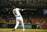 Arizona Diamondbacks' David Peralta connects for a two-run home run against the Pittsburgh Pirates during the first inning of a baseball game Wednesday, June 13, 2018, in Phoenix. (AP Photo/Ross D. Franklin)