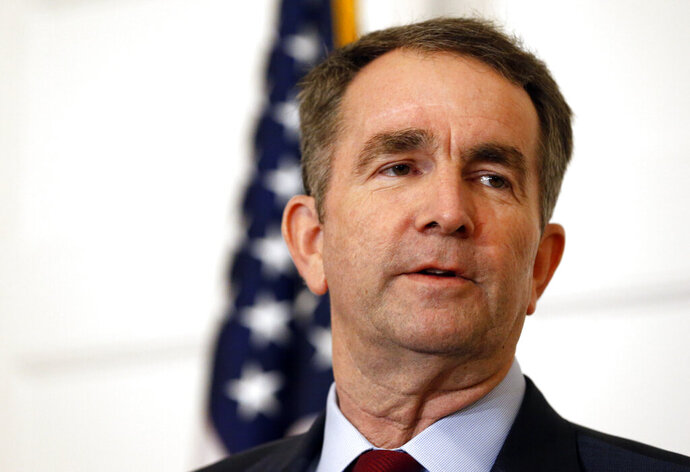 FILE - In this Feb. 2, 2019 file photo, Virginia Gov. Ralph Northam speaks during a news conference in the Governor's Mansion in Richmond, Va. The Virginia governor pulled out of an event where he would have faced protesters for wearing blackface in the 1980s. The Washington Post reported that Northam cited safety concerns for cancelling his appearance at a Sunday, April 14, 2019, fundraiser for a Democratic state senator in northern Virginia.  (AP Photo/Steve Helber, File)