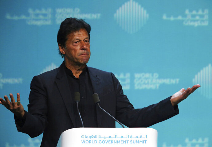 Pakistan's Prime Minister Imran Khan speaks during the World Government Summit in Dubai, United Arab Emirates, Sunday, Feb. 10, 2019. Khan on Sunday met with the head of the International Monetary Fund and later told a crowd that Pakistan needed