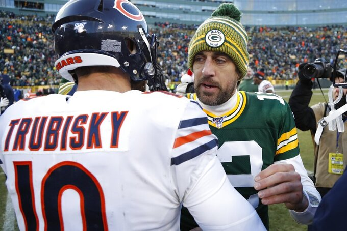 Green Bay Packers' Aaron Rodgers talks to Chicago Bears' Mitchell Trubisky after an NFL football game Sunday, Dec. 15, 2019, in Green Bay, Wis. The Packers won 21-13. (AP Photo/Matt Ludtke)