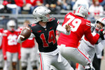 Ohio State quarterback Kyle McCord passes during the Buckeyes' spring NCAA college football game in Columbus, Ohio, Saturday, April 17, 2021. (AP Photo/Paul Vernon)