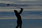 Team Europe's Matt Fitzpatrick hits on the sixth hole during a practice day at the Ryder Cup at the Whistling Straits Golf Course Thursday, Sept. 23, 2021, in Sheboygan, Wis. (AP Photo/Charlie Neibergall)
