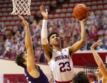 Indiana forward Trayce Jackson-Davis (23) shoots during the second half of the team's NCAA college basketball game against Northwestern, Wednesday, Dec. 23, 2020, in Bloomington, Ind. (AP Photo/Doug McSchooler)